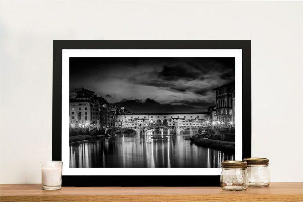 Ponte Vecchio at Sunset Framed Print on Canvas
