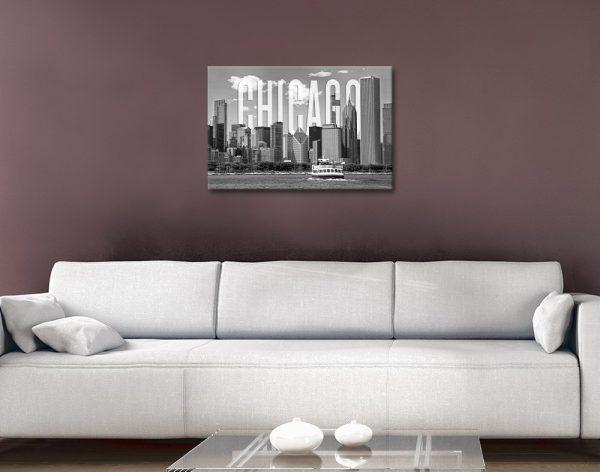 Chicago Skyline Monochrome Artwork
