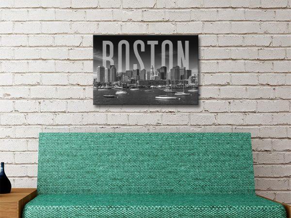 Monochrome Boston Skyline Ready to Hang Art