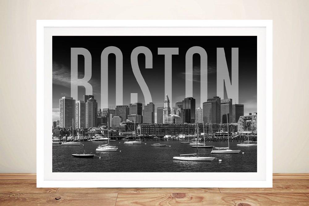 Boston City Skyline Quality Framed Art