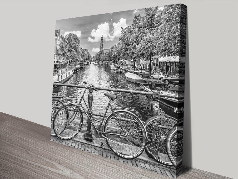 Black & White Amsterdam Cityscape Print