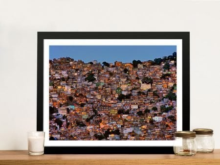 Nightfall in the Favela Framed Canvas Art