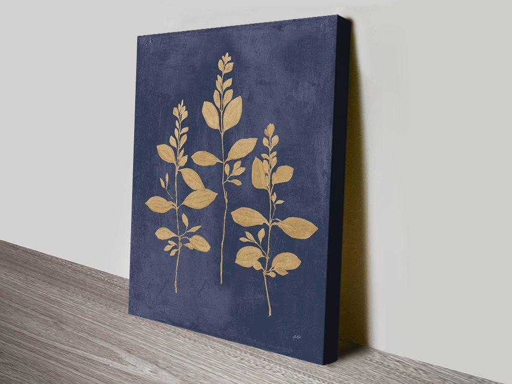 Buy Botanical Study lV Navy & Gold Floral Art