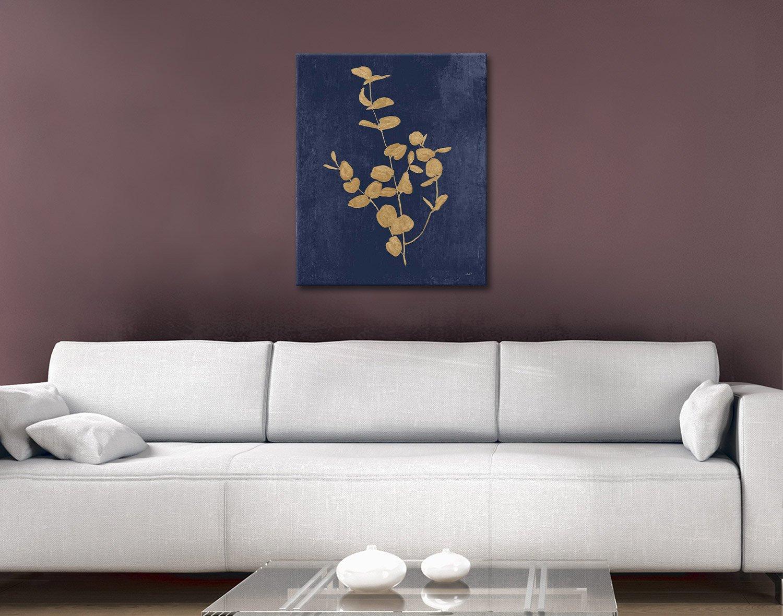 Navy & Gold Eucalyptus Wall Art on Canvas