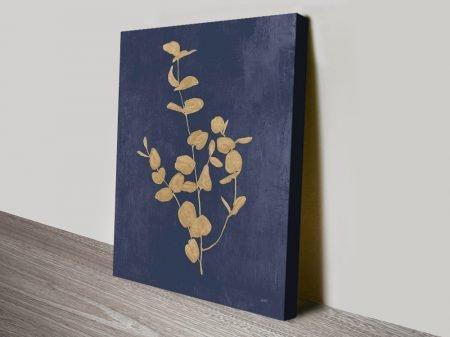 Botanical Study ll Navy & Gold Floral Artwork