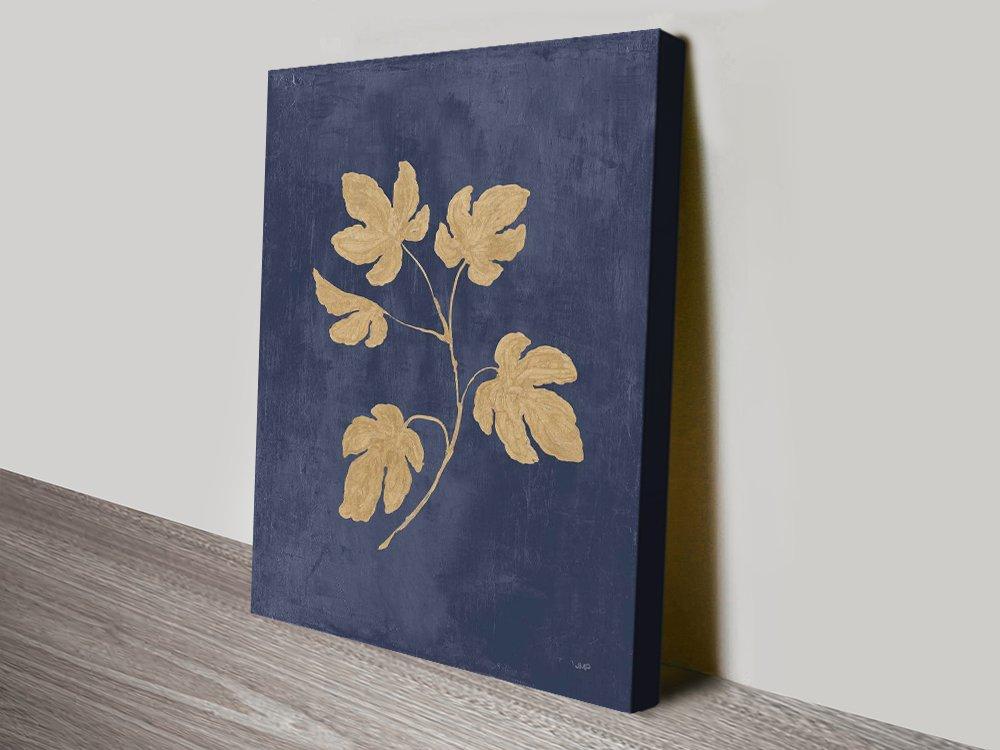 Navy & Gold Stretched Canvas Botanical Art AU