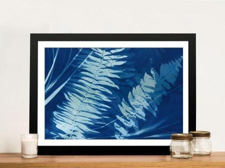 Cyanotype Tropical Framed Canvas Print