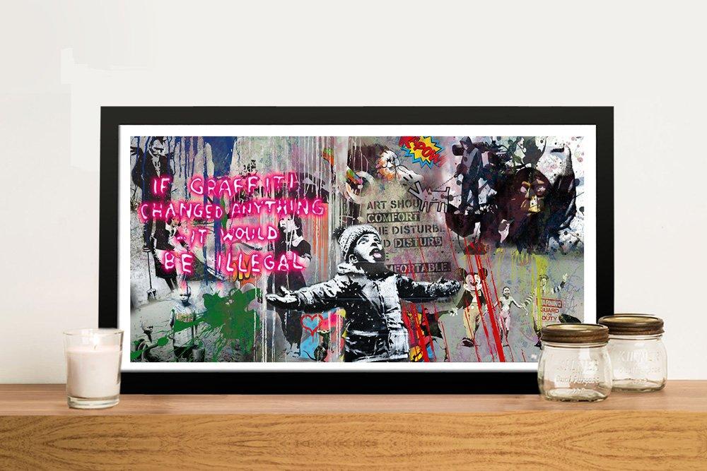 Framed Banksy Graffiti Panoramic Wall Art