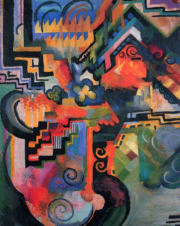 Coloured Composition Macke Abstract Art AU