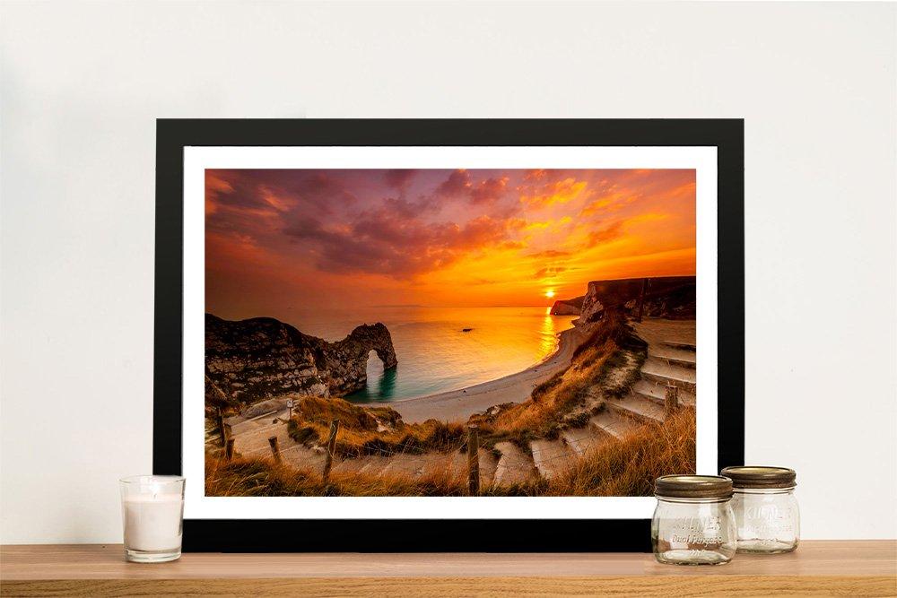 Sea Stairs Framed Coastal View Artwork