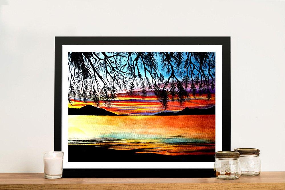 Framed Print of Sunset at the Whitsundays AU