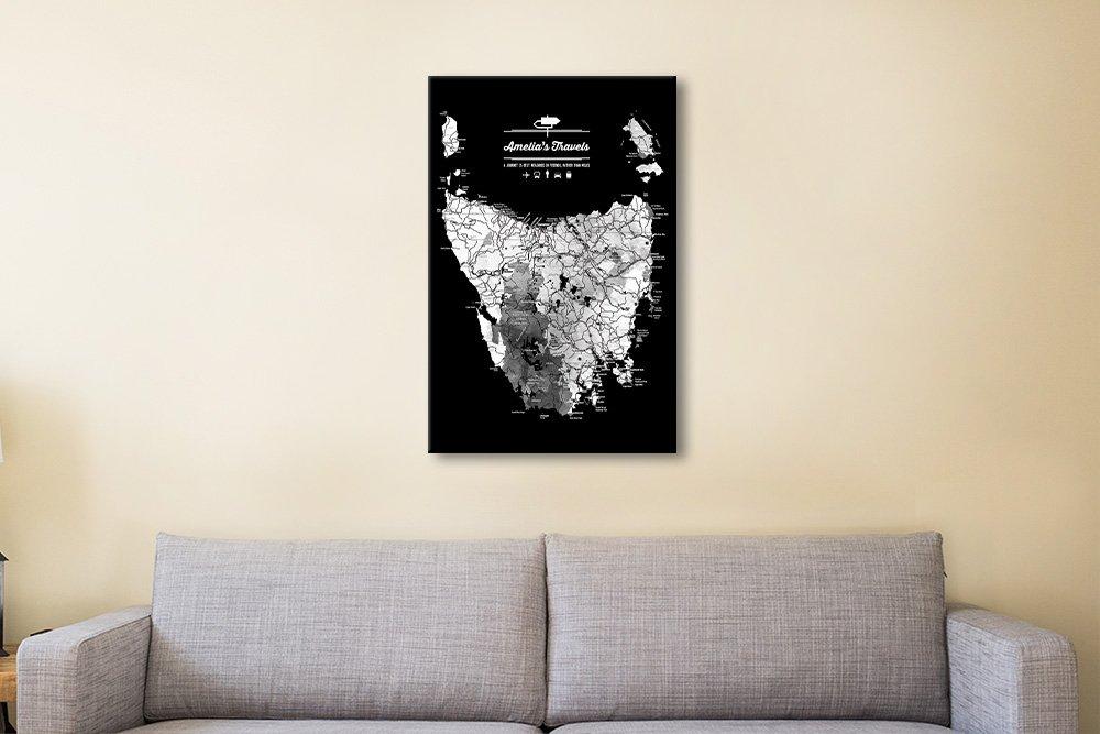 Monochrome Aussie Map Art on Canvas