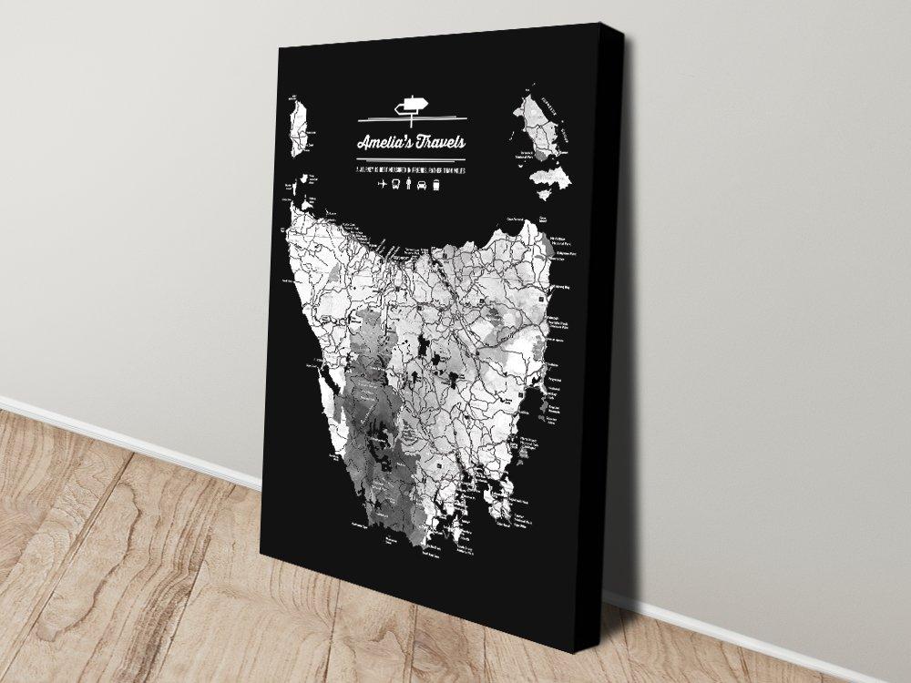 Canvas Map of Tasmania in Black & White