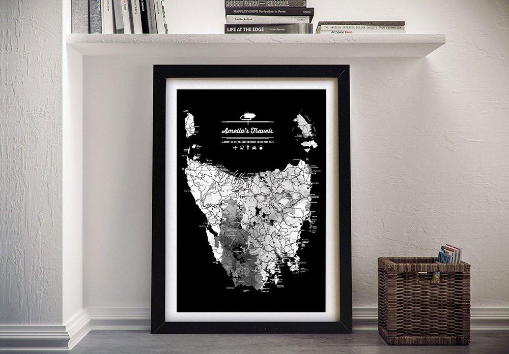 Framed Monochrome Tasmanian Map for Sale AU