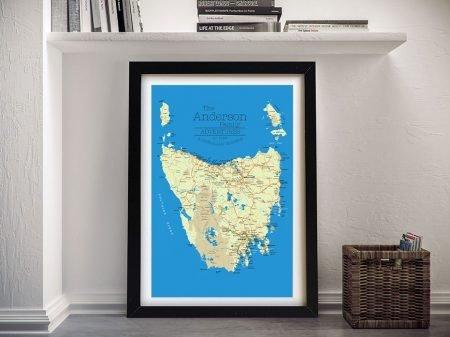 Original Style Framed Tasmanian Map Art