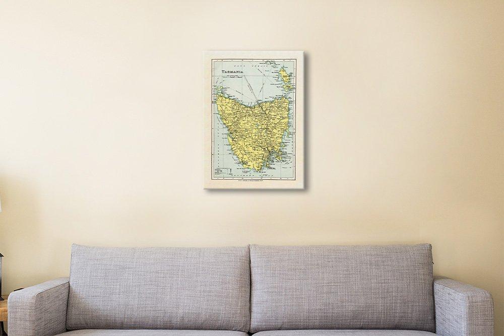 Affordable Vintage Map of Tasmania Unique Art AU