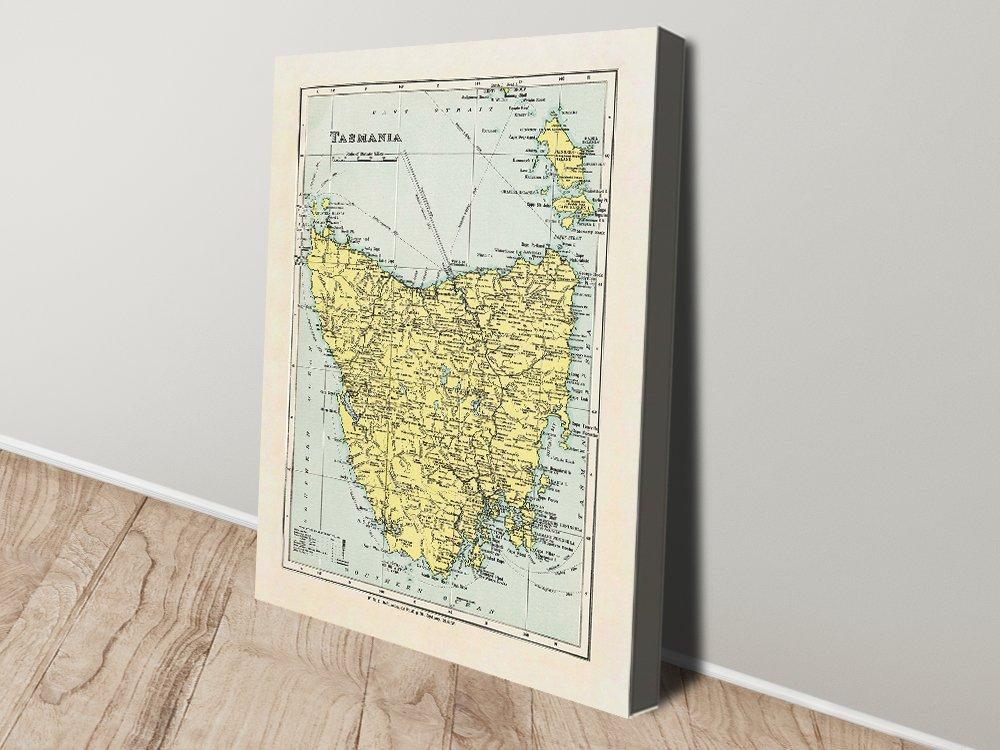 Buy a Vintage Map of Tasmania on Canvas