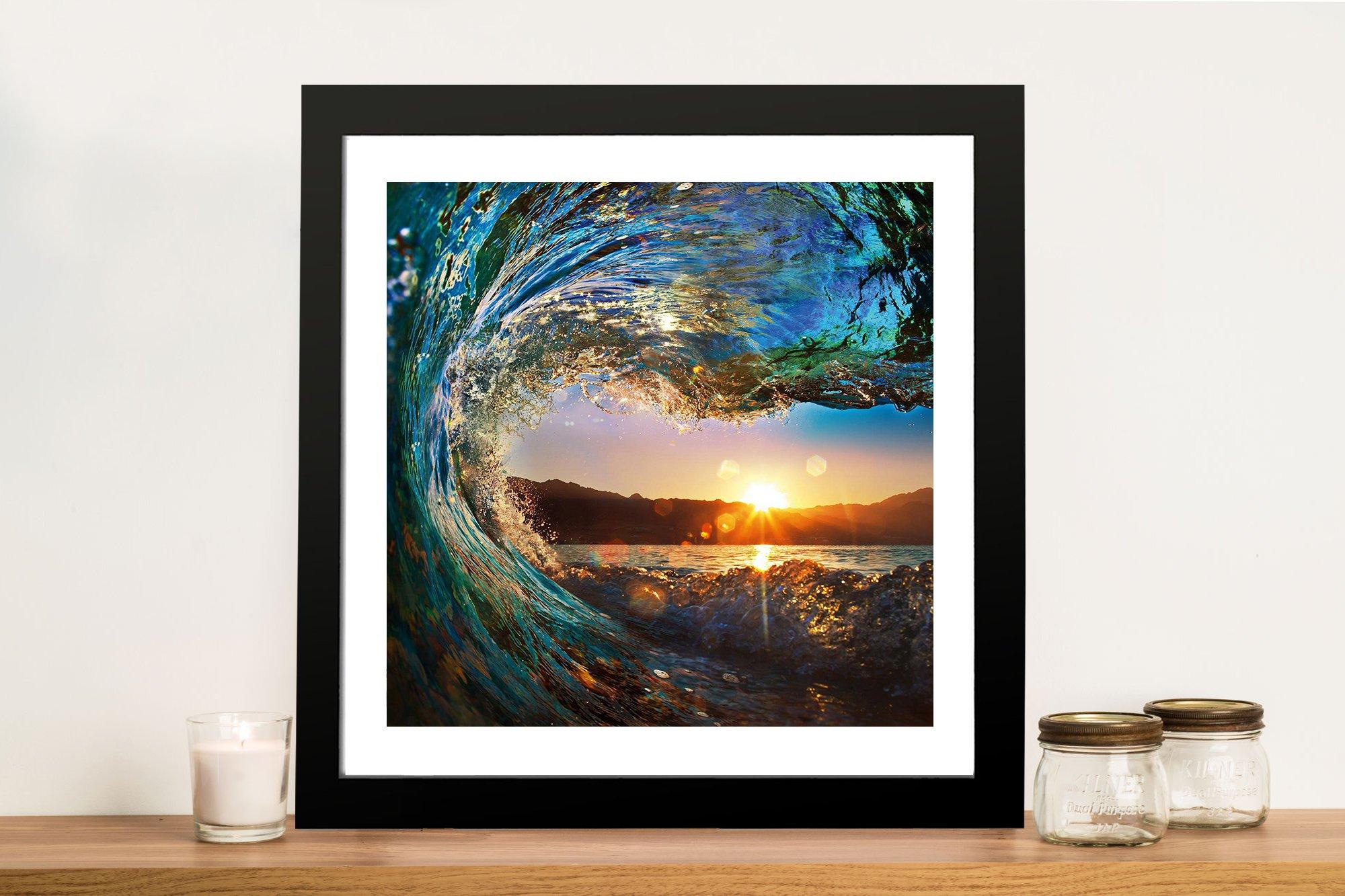 Crystalline Barrels Framed Seascape Print