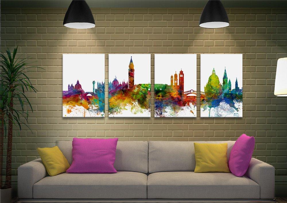 Venice Skyline Split Panel Michael Tompsett Art
