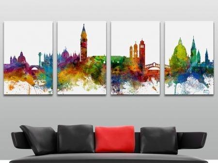 Venice Skyline Multicolour Quad Art Set
