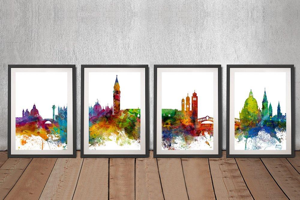 Framed Venice Skyline 4-Panel Wall Art AU