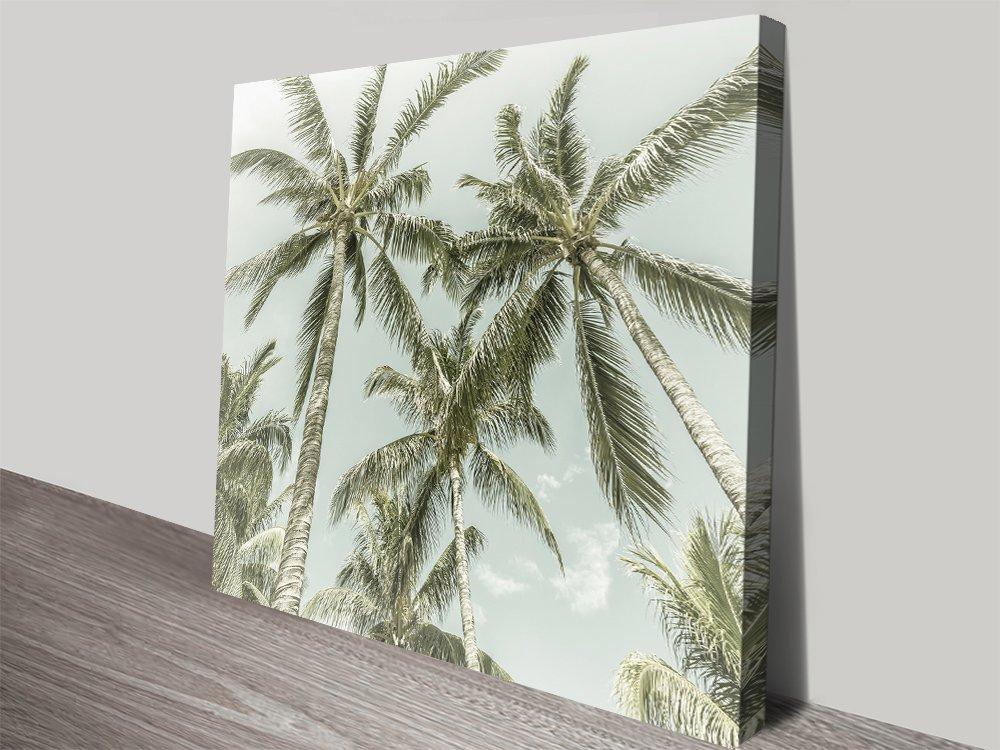 Lovely Vintage Palm Trees Canvas Art Print