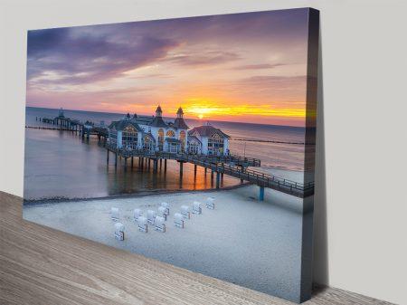 Sellin Pier During Sunrise Canvas Wall Art