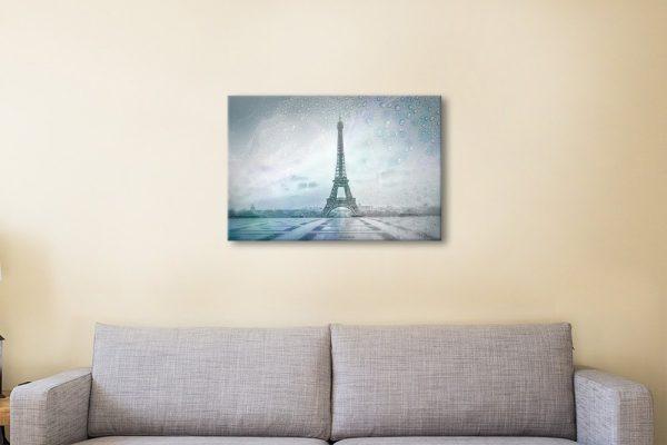 Eiffel Tower Rainy Day Ready to Hang Art Print