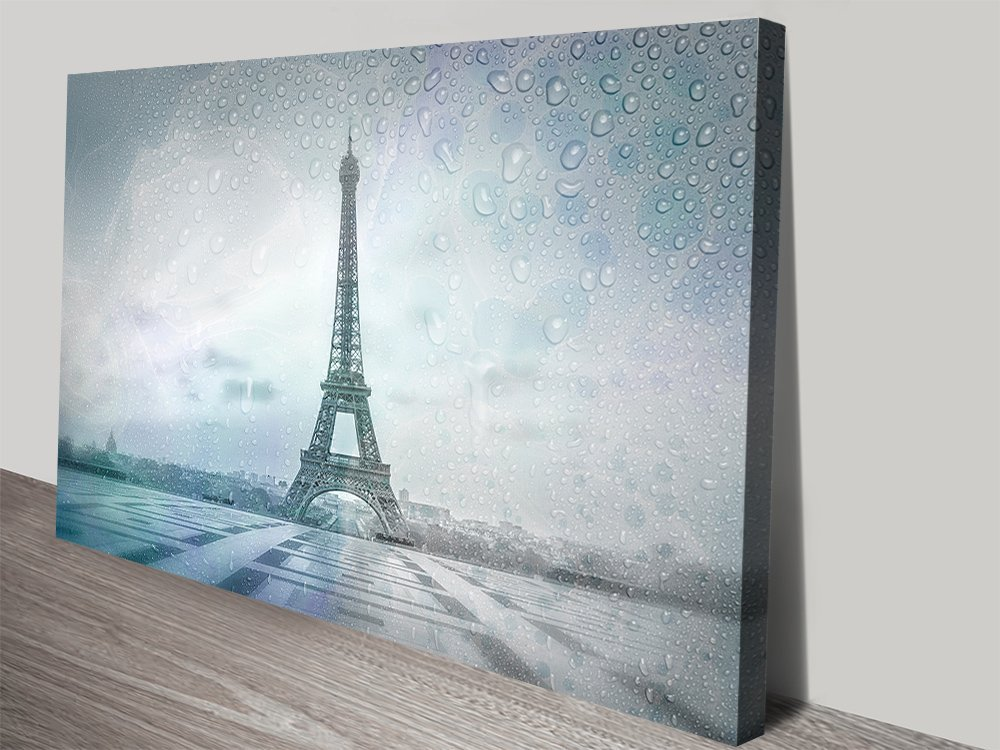 Eiffel Tower Rainy Day Stretched Canvas Print