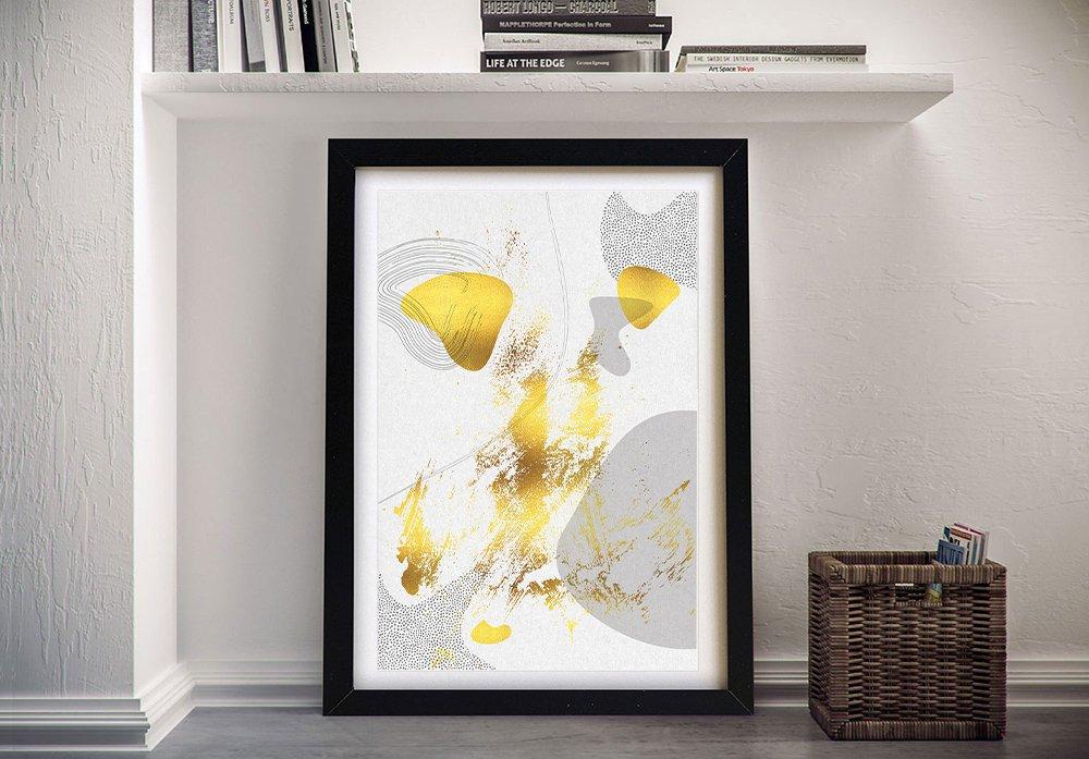 Framed Gold & Grey Abstract Digital Art AU