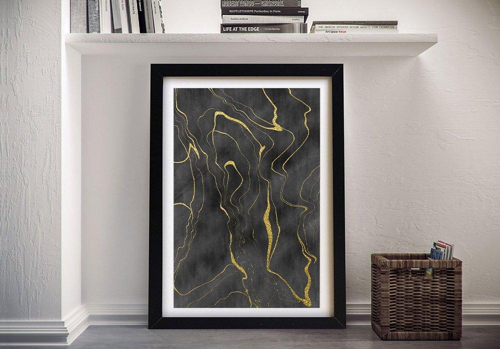 Golden Flows No.12 Framed Abstract Art