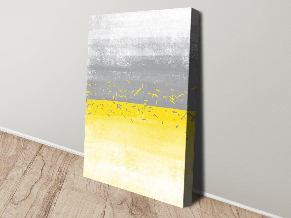 Yellow & Grey Abstract Digital Canvas Art
