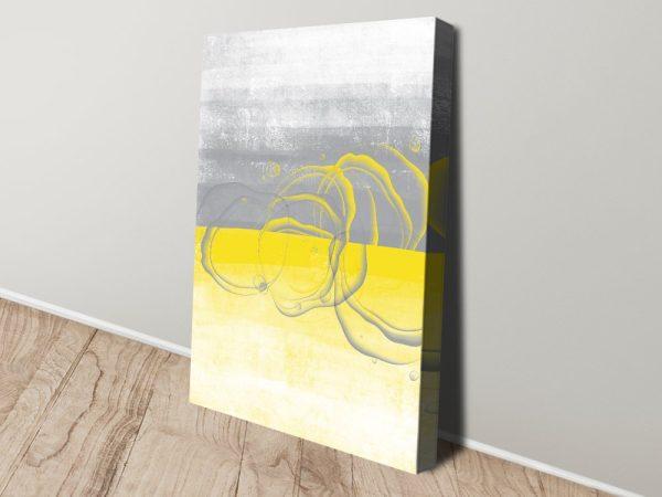 Yellow & Grey Digital Art Print on Canvas Online