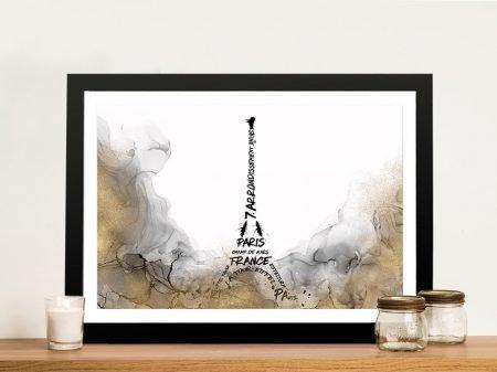 Eiffel Tower Typography Wall Art