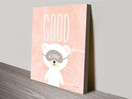 Good Night Cute Teddy Bear Wall Art