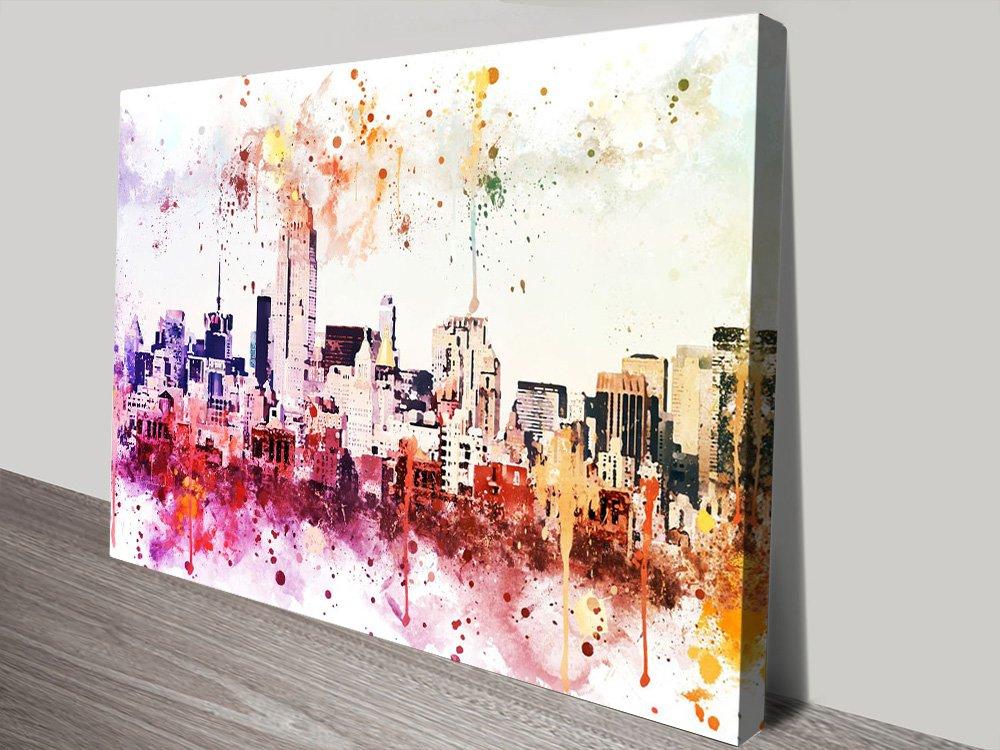 Manhattan View Colourful Graphic Art