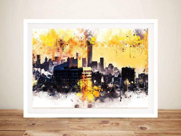Framed New York Colours Sunset Wall Art