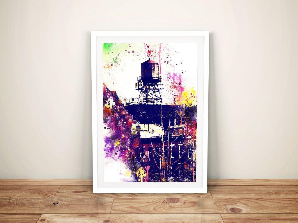 Framed NYC Watertank Digital Art Print