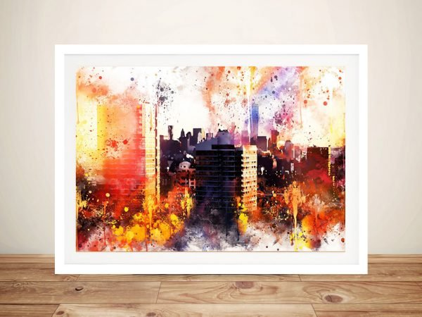 New York Sunset Colourful Graphic Art