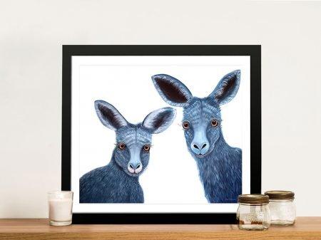 Quirky Kangaroos Framed Australian Art