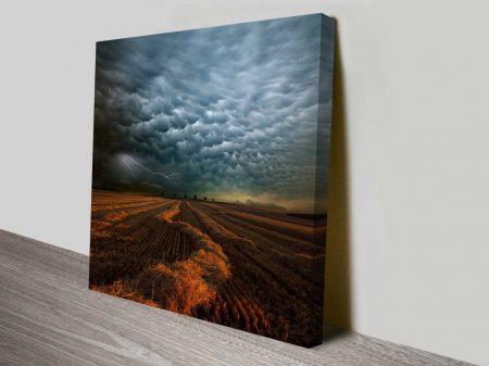 Lightning Across Field of Hay Landscape Weather Ready to Hang Wall Art
