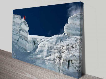 snow covered canyon wall decor custom canvas
