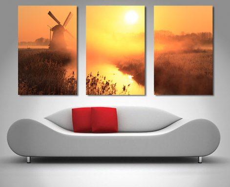 3 Panel Sunset Windmill Art