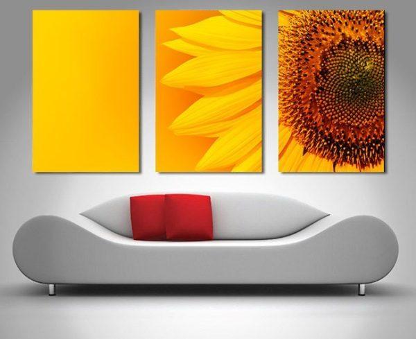 sunny sunflower 3 panel canvas wall art