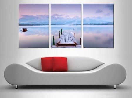 Lake Tranquility Triptych Purple Art