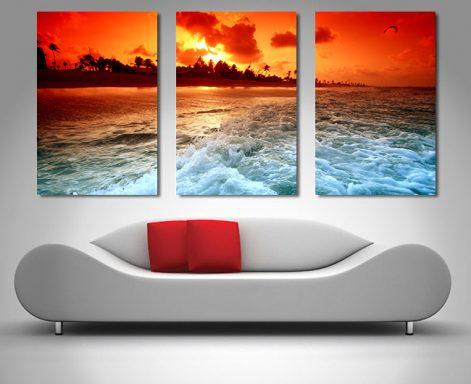 sunset churn 3 panel canvas wall art