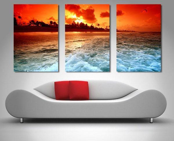 Sunset Churn 3-Panel Canvas Wall Art