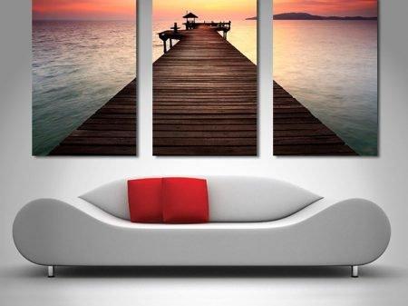 sunset pier 3 panel wall art