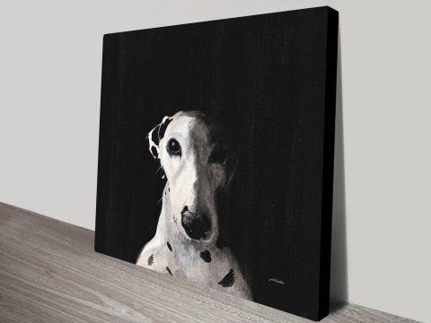 Dakota Dark Spot Rising Dalmatian Dog Painting Canvas Print
