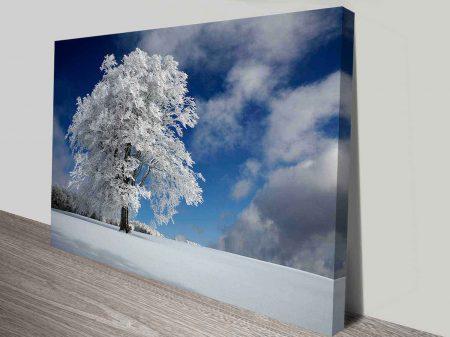 winters tree wall art canvas print